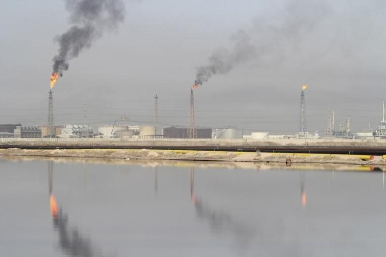 File photo shows a lake of oil at Al-Sheiba oil refinery in the southern Iraq city of Basra